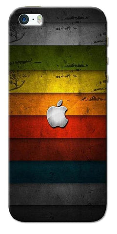 Digiprints Colorful Wooden Apple Logo Printed Designer Back Case Cover For Apple iPhone 5