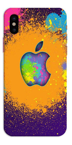 Digiprints Metal Apple Logo Printed Designer Back Case Cover For Apple iPhone X
