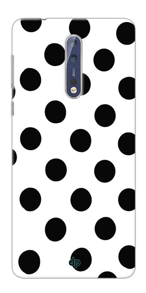 Digiprints Black Polka Dots Printed Back Case Cover For Nokia 8