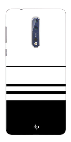Digiprints Black White Beautiful Pattern Printed Back Case Cover For Nokia 8