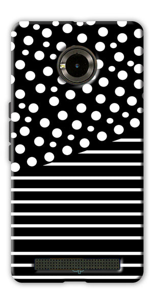 Digiprints White Strips And Dots Printed Back Case Cover For Yu Yuphoria