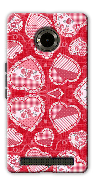 Digiprints Beautiful Pink Heart Design Printed Back Case Cover For Yu Yunique