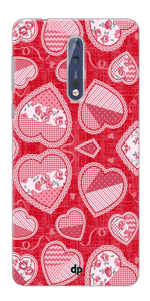 Digiprints Beautiful Pink Heart Design Printed Back Case Cover For Nokia 8