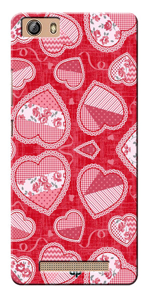 Digiprints Beautiful Pink Heart Design Printed Back Case Cover For Gionee Marathon M5 Lite