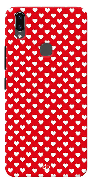 Small Hearts On Red Design Printed Back Case Cover For Vivo V9