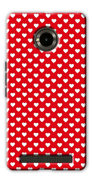 Digiprints Small Hearts On Red Design Printed Back Case Cover For Yu Yunique