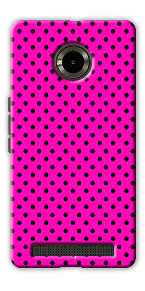 Digiprints Black Dotted Design Pink Printed Back Case Cover For Yu Yuphoria