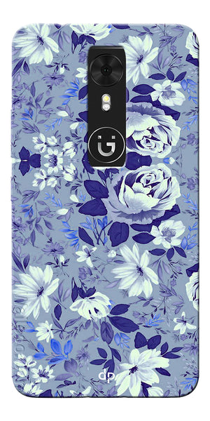 Digiprints Beautiful Blue Flowers Vector Design Back Case Cover For Gionee A1