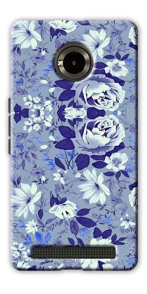 Digiprints Beautiful Blue Flowers Vector Design Back Case Cover For Yu Yuphoria