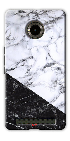 Digiprints  Marble Textured With Black Marbel Artprinted Case Cover For Yu Yuphoria