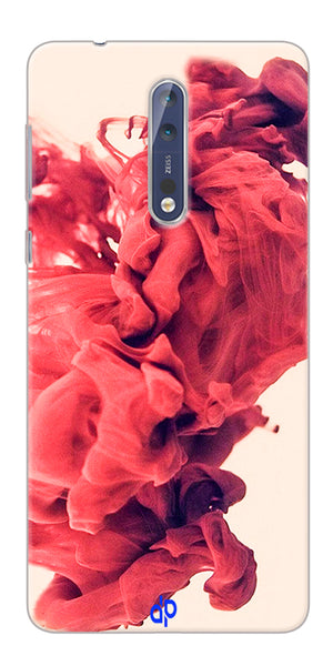 Digiprints Abstract Red Smoke Cloud Printed Designer Back Case Cover For Nokia 8