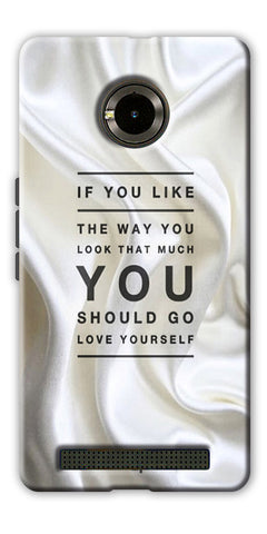 Digiprints Love Yourself Quotes Printed Designer Back Case Cover For Yu Yuphoria