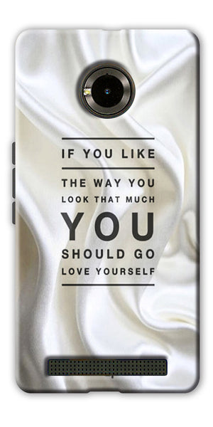 Digiprints Love Yourself Quotes Printed Designer Back Case Cover For Yu Yunique