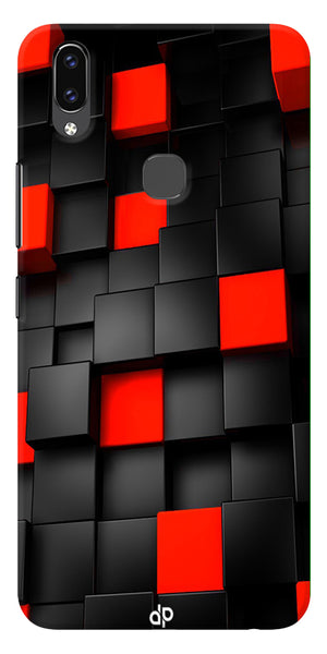 Black And Red Cube Design Printed Designer Back Case Cover For Vivo V9