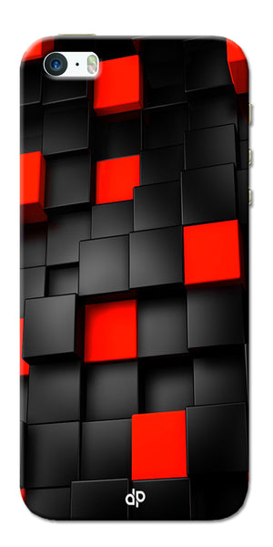 Digiprints Black And Red Cube Design Printed Designer Back Case Cover For Apple iPhone 5s