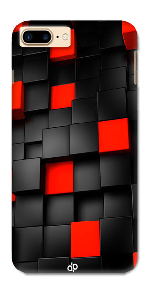 Digiprints Black And Red Cube Design Printed Designer Back Case Cover For Apple iPhone 7 Plus