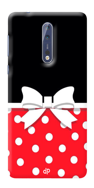 Digiprints Black And Red In Polka Dots Printed Designer Back Case Cover For Nokia 8