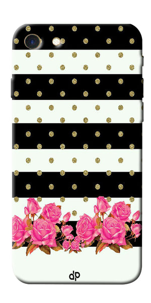Digiprints Black & White Stripe And Pink Flower Design Printed Designer Back Case Cover For Apple iPhone 7