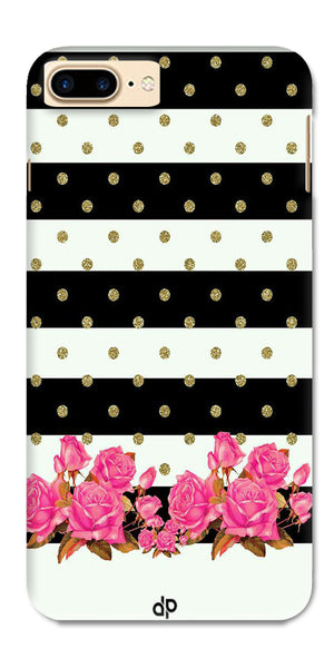 Digiprints Black & White Stripe And Pink Flower Design Printed Designer Back Case Cover For Apple iPhone 7 Plus