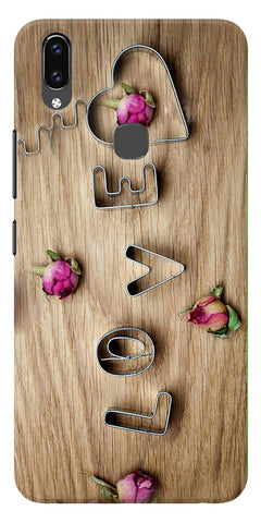 Love Wooden Pattern Printed Designer Back Case Cover For Vivo V9