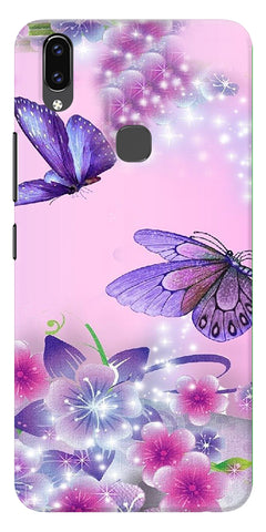 Butterfly In Flowers Printed Designer Back Case Cover For Vivo V9