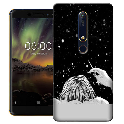 Digiprints Relaxing In The Night Printed Designer Back Case Cover For Nokia 6.1(2018)