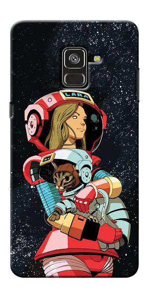 Astranaut With Kitty Printed Designer Back Case Cover For Samsung Galaxy A8 Plus 2018