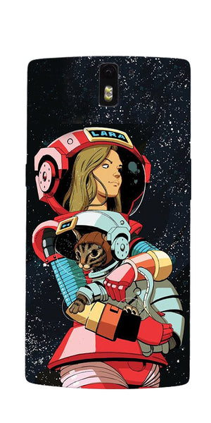 Digiprints Astranaut With Kitty Printed Designer Back Case Cover For OnePlus 1