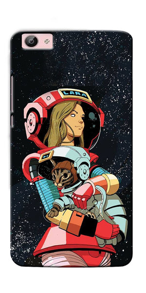 Digiprints Astranaut With Kitty Printed Designer Back Case Cover For Vivo V5S