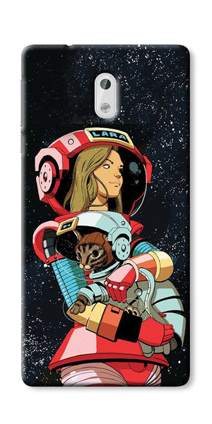Digiprints Astranaut With Kitty Printed Designer Back Case Cover For Nokia 5
