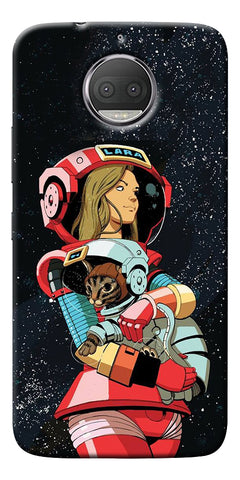 Astranaut With Kitty Printed Designer Back Case Cover For Motorola Moto G5S Plus