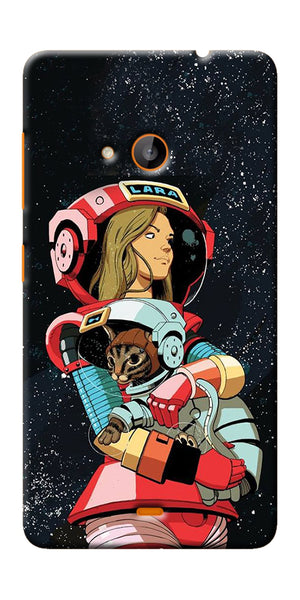 Digiprints Astranaut With Kitty Printed Designer Back Case Cover For Microsoft Lumia 540