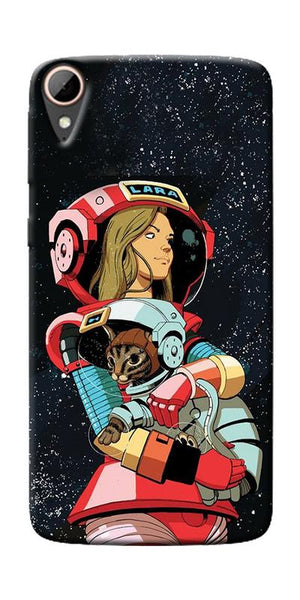 Astranaut With Kitty Printed Designer Back Case Cover For HTC Desire 828
