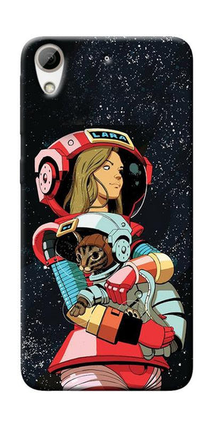 Astranaut With Kitty Printed Designer Back Case Cover For HTC Desire 626