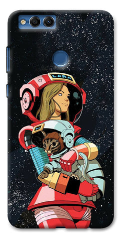 Digiprints Astranaut With Kitty Printed Designer Back Case Cover For Huawei Honor 7X