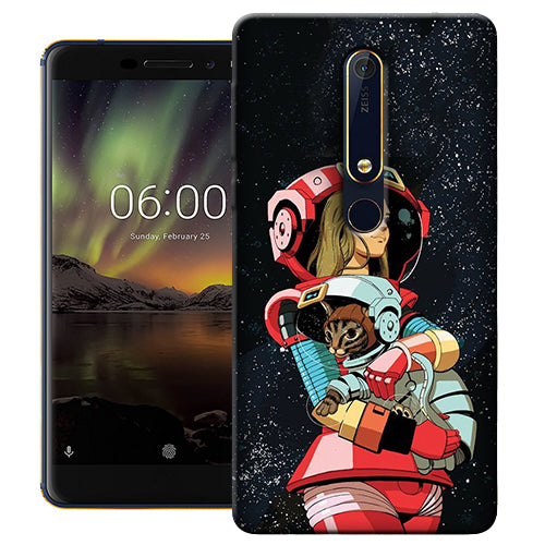 Digiprints Astranaut With Kitty Printed Designer Back Case Cover For Nokia 6.1(2018)