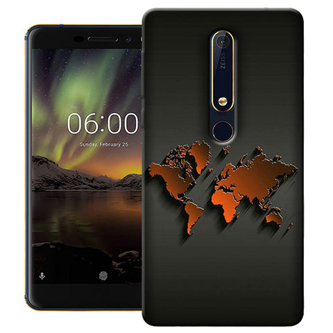 Digiprints World Map Art Design Printed Designer Back Case Cover For Nokia 6.1(2018)