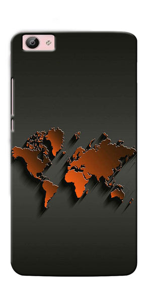 Digiprints World Map Art Design Printed Designer Back Case Cover For Vivo V5