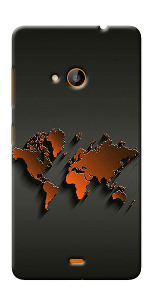 Digiprints World Map Art Design Printed Designer Back Case Cover For Microsoft Lumia 540
