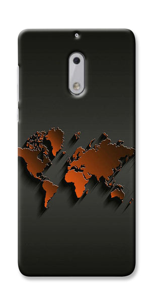 Digiprints World Map Art Design Printed Designer Back Case Cover For Nokia 6