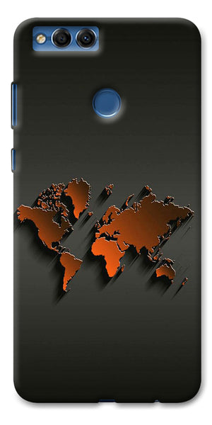 Digiprints World Map Art Design Printed Designer Back Case Cover For Huawei Honor 7X