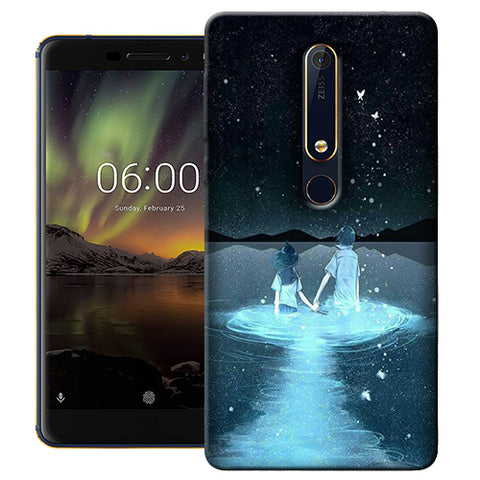Digiprints Radium Night View Printed Designer Back Case Cover For Nokia 6.1(2018)