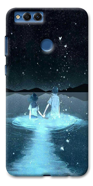 Digiprints Radium Night View Printed Designer Back Case Cover For Huawei Honor 7X