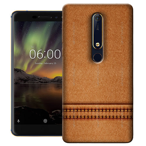 Digiprints Brown Leather Stich Pattern Printed Designer Back Case Cover For Nokia 6.1(2018)