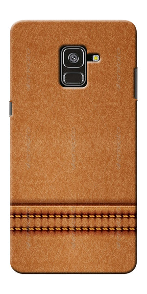 Brown Leather Stich Pattern Printed Designer Back Case Cover For Samsung Galaxy A8 Plus 2018