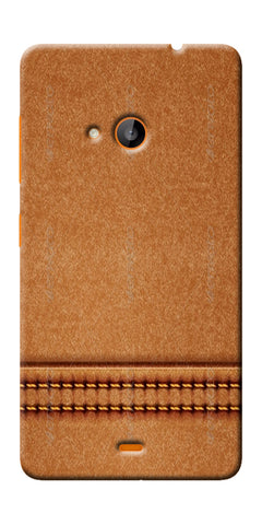 Digiprints Brown Leather Stich Pattern Printed Designer Back Case Cover For Microsoft Lumia 540