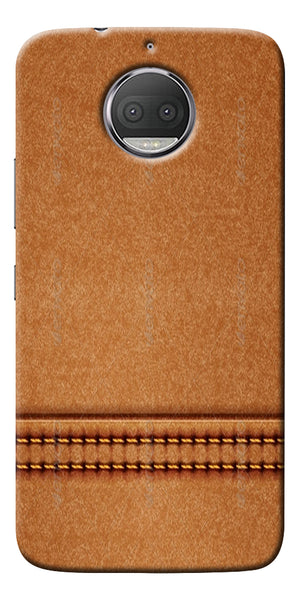 Brown Leather Stich Pattern Printed Designer Back Case Cover For Motorola Moto G5S Plus