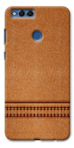 Digiprints Brown Leather Stich Pattern Printed Designer Back Case Cover For Huawei Honor 7X