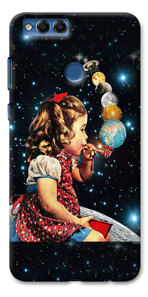 Digiprints Girl Bowing Planets Printed Designer Back Case Cover For Huawei Honor 7X