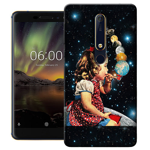 Digiprints Girl Bowing Planets Printed Designer Back Case Cover For Nokia 6.1(2018)
